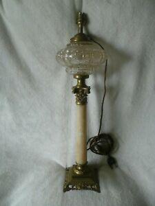 ANCIEN-PIED-DE-LAMPE-A-PETROLE-ELECTRIFIE-BRONZE-ET-MARBRE