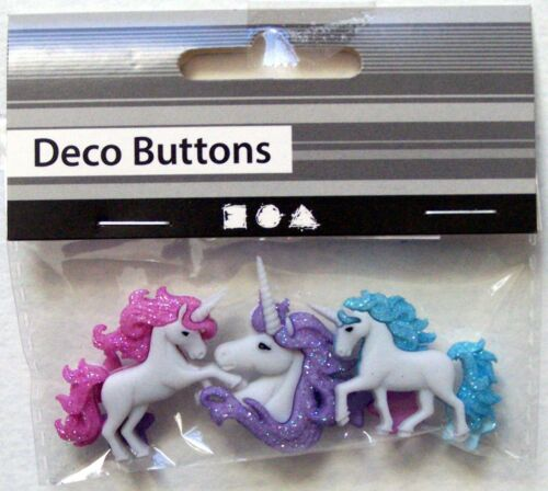 Plastic Novelty Unicorn Shaped Buttons 3 Pcs Brand New