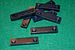 (8) Black 1x4 Plate Bricks with smooth middle ~ Lego ~ NEW ~