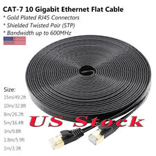REXLIS CAT7 10 Gigabit Ethernet Ultra Flat RJ45 Patch Cord Lan Cable for Router