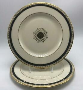 Medallion-Black-Accent-Collection-Lenox-Bone-China-2-Salad-Plates-Gold-Trim-USA
