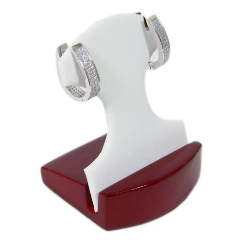 Rosewood White Faux Leather One Pair Earring Jewelry Display Holder Stand Dangle