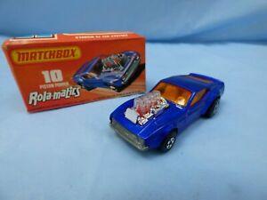 1973-Matchbox-Rolamatics-10-Ford-Mustang-Piston-Popper-Azul-coche-jefe-Caja-De-Juguetes