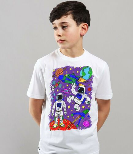Splat Planet Colour-in Space Rocket T-Shirt 10 Magic Pens-Colour-in and Wash Out