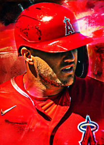 2021 Mike Trout Angels Baseball 8/25 Art ACEO Print Card By:Q