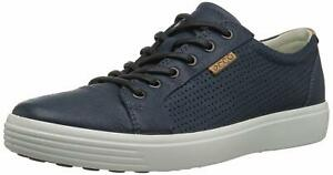 ECCO-Mens-Soft-7-Tie-Fashion-Casual-Leather-Shoes-Sneakers-Navy-Perforated