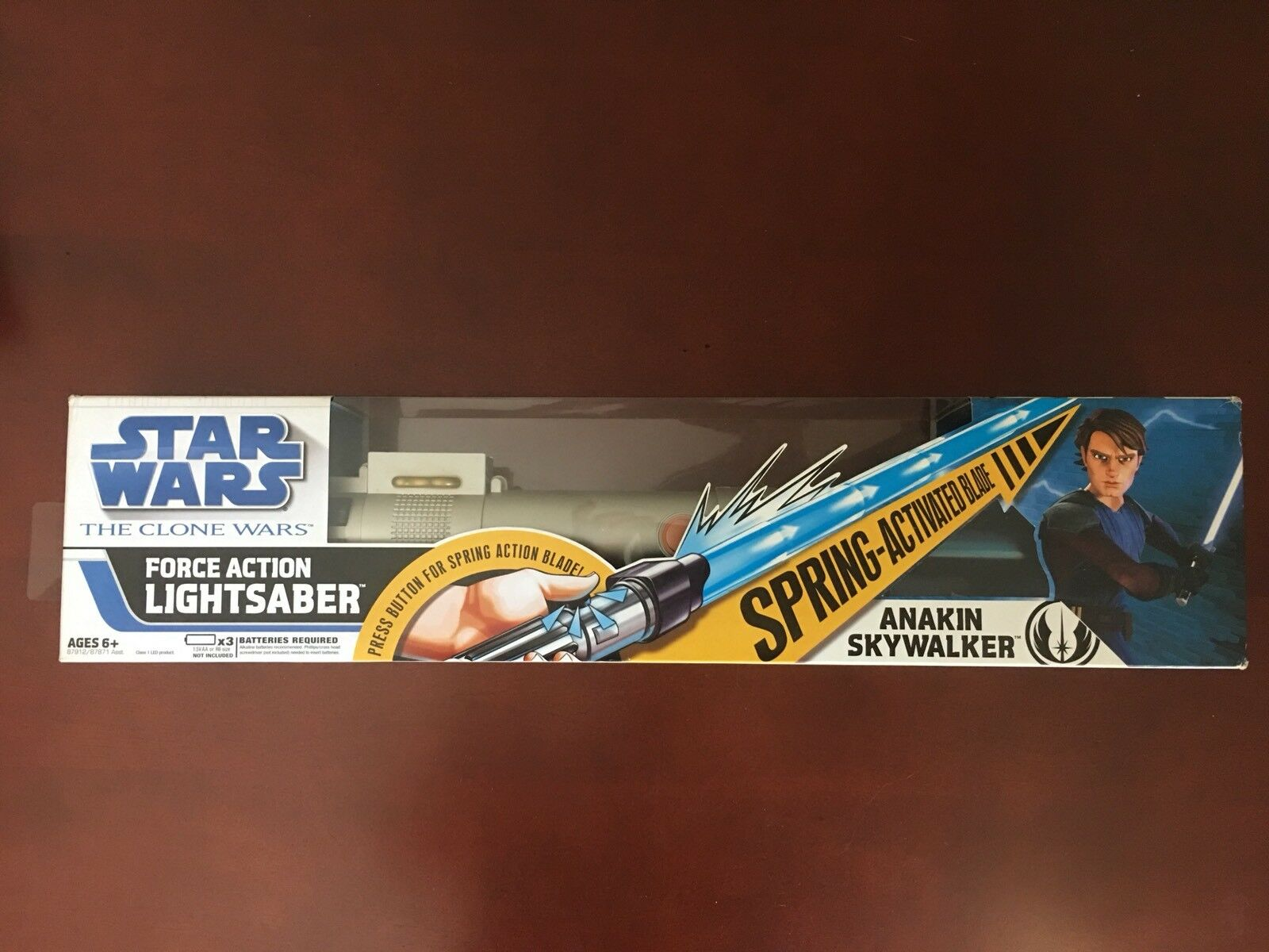 Anakin Blau Lightsaber Spring-Activated Blade Electronic Lights Sounds 2008 New
