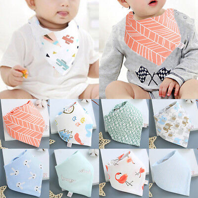 Baby Boy Girl Solid Color Cotton Saliva Towel Feed Triangle Bibs Scarf Charm