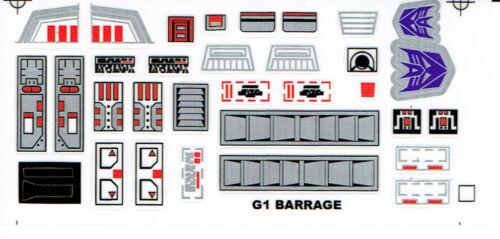 G1 DECEPTICON PARTS BARRAGE REPRO LABELS TRANSFORMERS GENERATION 1
