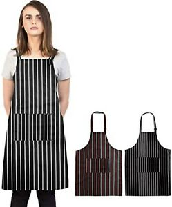 Black Blue And White Apron Butchers Catering Cooking Professional Chef Aprons