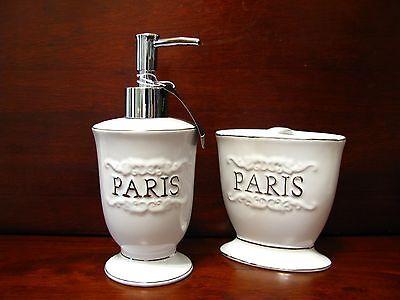 Bathroom Gorgeous pieces 2 Paris gift New Brand Set Accessory White pnqH5