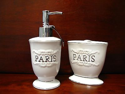 pieces Brand Bathroom White Paris Set Accessory gift New Gorgeous 2 XRwwfY