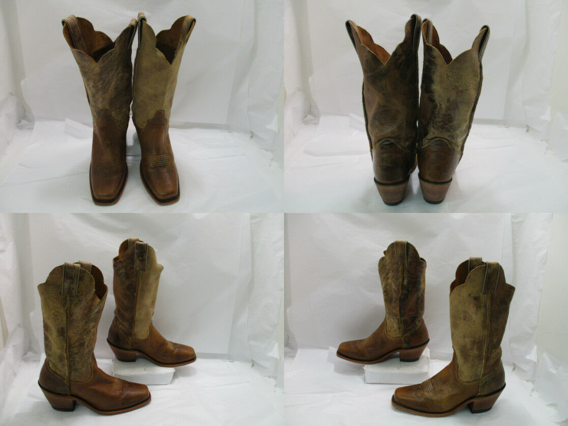 Ladies Brown Leather Justin Square Toe Cowgirl Western Boots Sz:7.5B (Z)