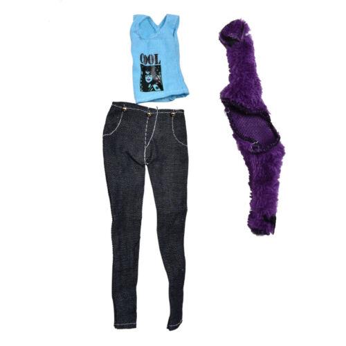 Fur Coat Suit for Dolls Black Pants Fur Purple Coat Fashion TEUS