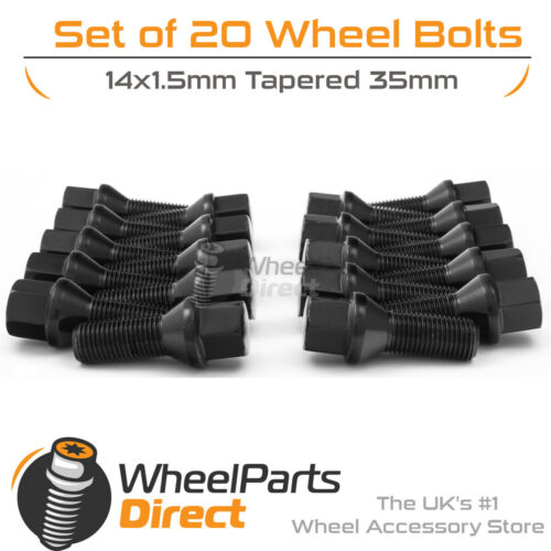 Black Alloy Wheel Bolts 20 14x1.5 35mm For Renault Clio Sport 197 Mk3 06-09