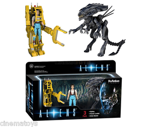 Aliens Ripley + Powerloader + Alien Queen Action Figure Funko Reaction DeluxeBox