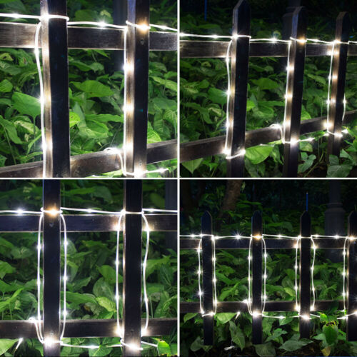 75.5FT Solar Power LED Cool White Rope String Fairy Lights Waterproof Outdoor