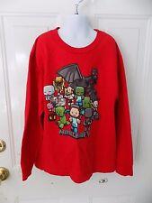 Red Minecraft Creatures Mojang Jinx T-Shirt Creeper Long Sleeve Shirt Size YS
