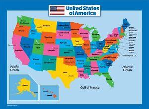 Mapa De Eeuude America.Mapa De Ee Uu Para Ninos Laminado Estados Unidos Grafico De Pared Mapa 712038866182 Ebay