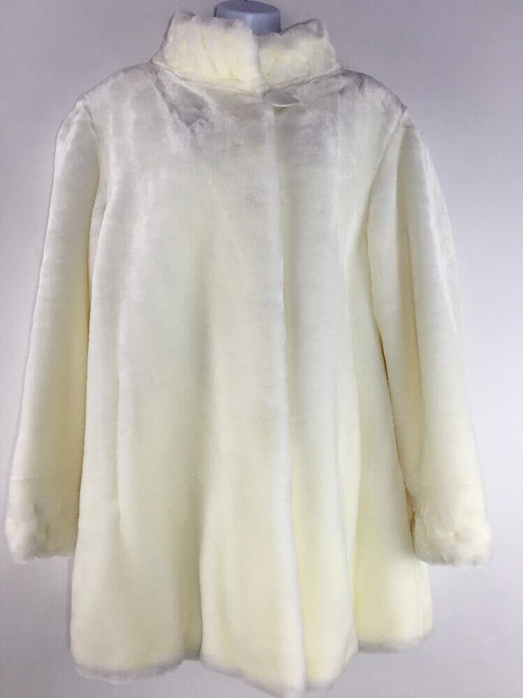 Olympia Limited Inc Ivory Cream Faux Fur Coat Lined Size S