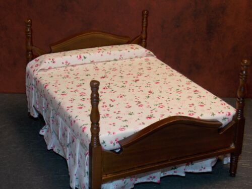 Dollhouse Miniature Walnut Double Bed Pink 1:12 inch scale Y7 Dollys Gallery