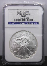 2008 U.S. $1.00 American Silver Eagle Early Releases Graded MS 69 by NGC