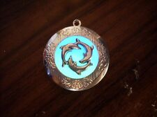 GLOW IN THE DARK Dolphin Ring Blue and Green Silver Photo Locket Steampunk