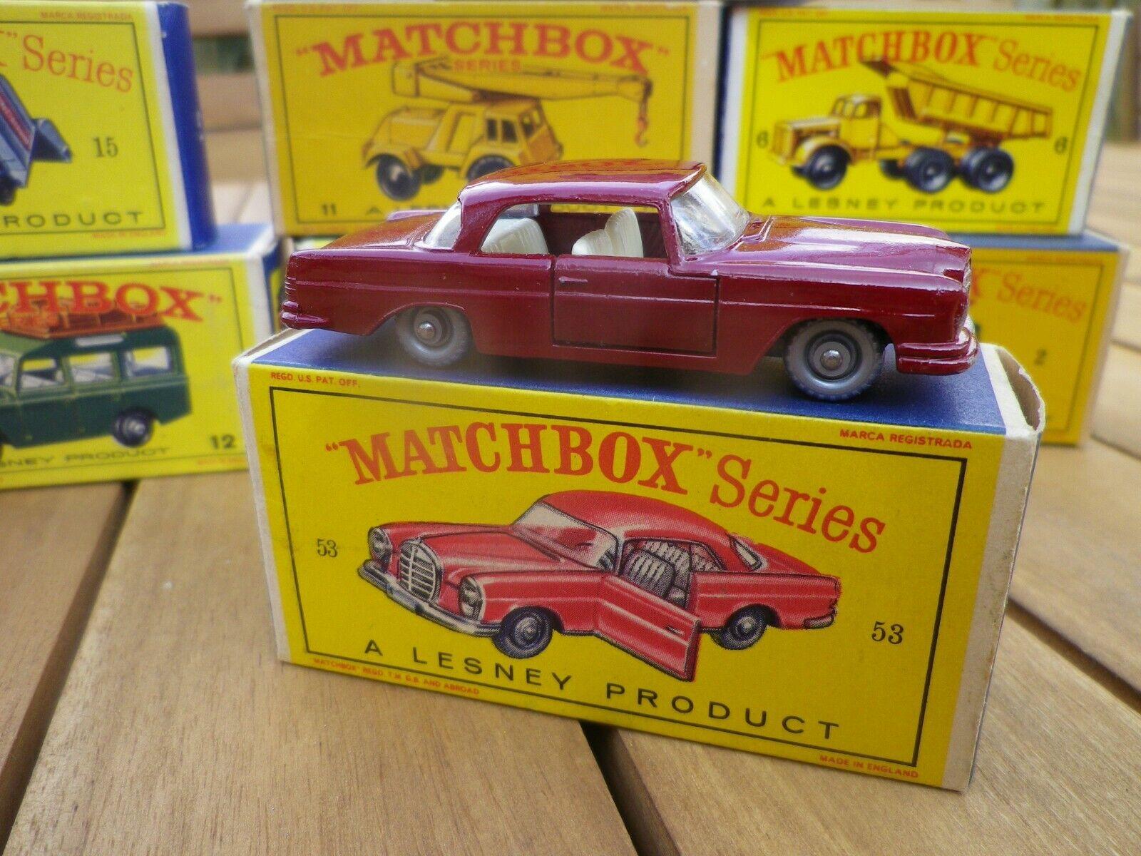 Matchscatola lesney 53 mercedes ruote di plastica argentoata nuove in scatola originale tipo d1