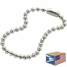 """500 LOT Silver 4"""" 2.5mm BALL CHAIN LINK NICKEL PLATED DOG TAG CONNECTOR KEYCHAIN"""