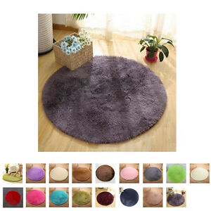 Fluffy-Rugs-Anti-Skid-Shaggy-Area-Rug-Room-Home-Bedroom-Carpet-Round-Floor-Mat