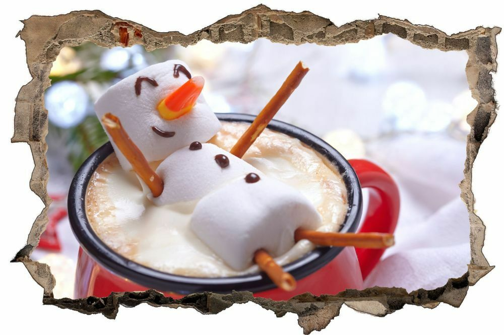 MARSHMALLOW pupazzo di neve CAFFE 'COFFEE Tatuaggio Parete Adesivo Muro Parete Adesivo d1144
