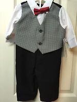 Boys Outfit 3/6 Months Infant Suit Black White Check Jumpsuit Wedding Pageant