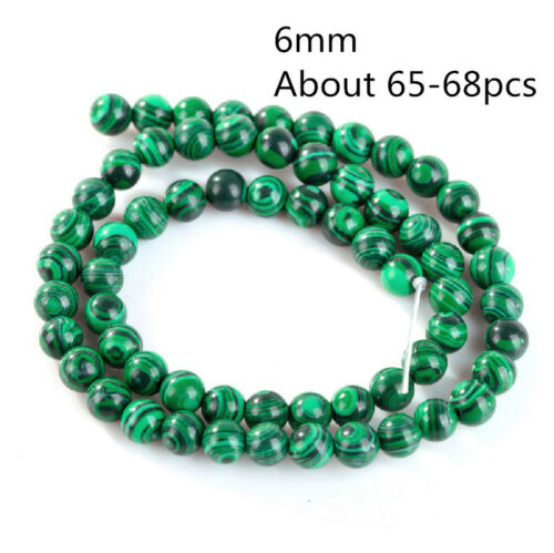 Lots 15/'/' Natural Malachite Gemstone Round Spacer Loose Beads Craft 4//6//8//10MM