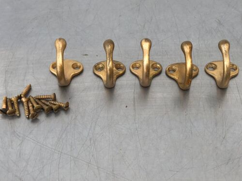 5 Single Solid Brass Wardrobe Hooks Hardware Original Mid Century Traditional