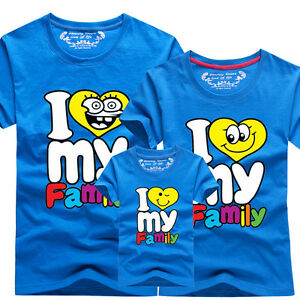 Hot Family fitted Father mother son lovers parent-child T-shirt I love my family