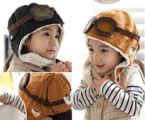 Pilote Aviateur Polaire Chaude Chapeau Bonnet avec Cache-oreilles pour enfants 10 mois 5 ans