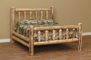Amish made white cedar log furniture King  rustic bed 56**FREE SHIPPING**