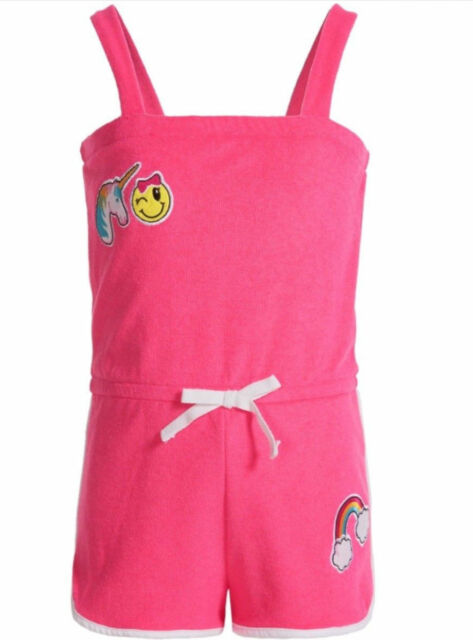 9ce64de345 NEW Pink Platinum Terry Romper Cover-Up Unicorn Emoji Girls Swimwear 3T #KK