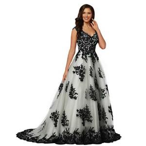 Details about Long Black Lace Prom Dress with Train Plus Size Quinceanera  Dress
