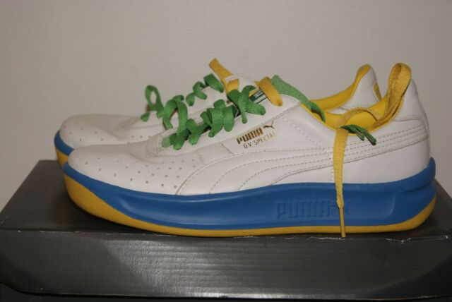 low priced aad75 88767 Mens Puma GV Special Blue White Green Yellow Leather Shoes Sz 6 or 7
