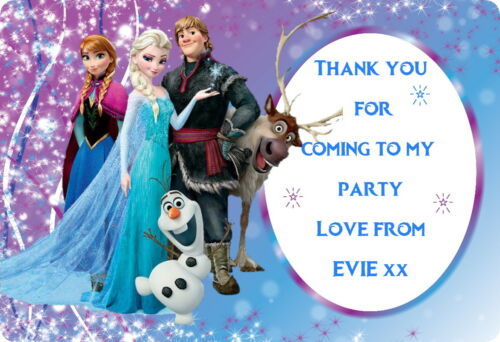 DISNEY FROZEN 8 LARGE PERSONALISED PARTY BAG FOOD BOX  GLOSS STICKERS