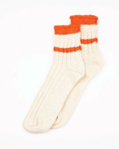 Gronde Love atelier collection Court Chaussettes-RAW blanc//orange