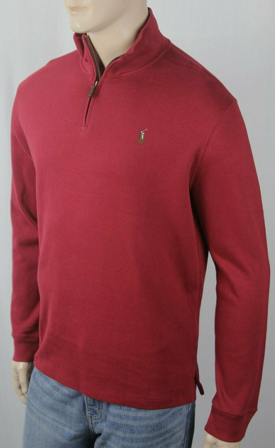 Polo Ralph Lauren rot Estate Rib Half Zip Sweater Multi Farbe Pony NWT