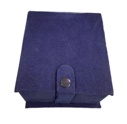 Cofanetto Scatolo Confezione Astuccio Con Cuscino Per Orologio Velluto Blu lac