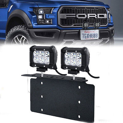 For ford truckcar pair 18w led light bar usa front license plate for ford truckcar pair 18w led light bar usa front license plate mount bracket mozeypictures Choice Image