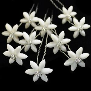 10 haarnadeln edelweiss blume hochzeit stra schneeflocken tiara haarschmuck neu ebay. Black Bedroom Furniture Sets. Home Design Ideas