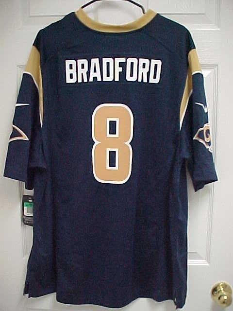 SAM BRADFORD 8 St Louis Rams Blue Gold Football Jersey XL Nike On Field New  Tag 51276edc9