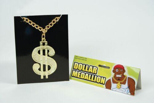 Dollar Sign Medallion Chain Pimp Gangster 70/'s 80/'s Rapper Fancy Dress