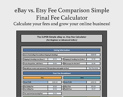 Ebay Vs Etsy Fee Comparison Simple Final Fee Calculator Selling Excel Free Ebay