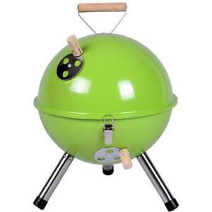 Mini-BBQ-Grill-Holzkohle-Kugelgrill-gruen-30-cm-Kompaktgrill-Picknickgrill